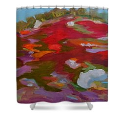 Shower Curtain featuring the painting Schoodic Trail Blueberry Hill by Francine Frank