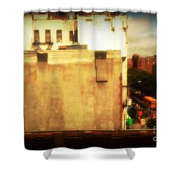 Shower Curtain featuring the photograph School Bus With White Building by Miriam Danar