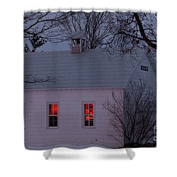School House Sunset Shower Curtain by Cheryl Baxter
