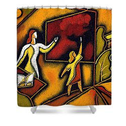 School Shower Curtain by Leon Zernitsky