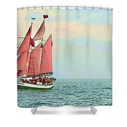 Schooner Jolly Rover Key West Shower Curtain by Joan  Minchak