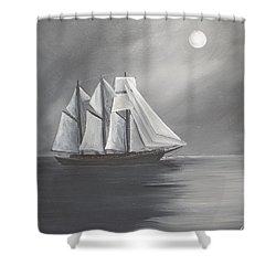 Schooner Moon Shower Curtain by Virginia Coyle