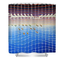Schooner Race Horse Clouds Shower Curtain