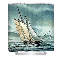 Schooner Voyager Shower Curtain by James Williamson