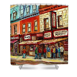 Schwartz The Musical Painting By Carole Spandau Montreal Streetscene Artist Shower Curtain by Carole Spandau