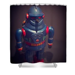 Science Fiction Vintage Robot Toy Shower Curtain by Edward Fielding
