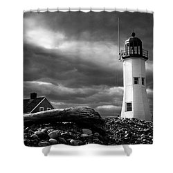 Shower Curtain featuring the photograph Scituate Lighthouse Under A Stormy Sky by Jeff Folger