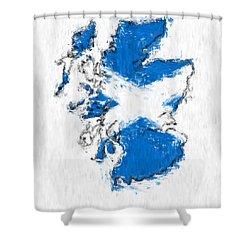 Scotland Painted Flag Map Shower Curtain by Antony McAulay