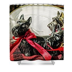Scotties In The Window Shower Curtain by Caitlyn  Grasso