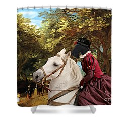 Scottish Terrier Art - Pasague With Horse Lady Shower Curtain by Sandra Sij