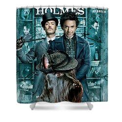 Scottish Terrier Art Canvas Print - Sherlock Holmes Movie Poster Shower Curtain by Sandra Sij