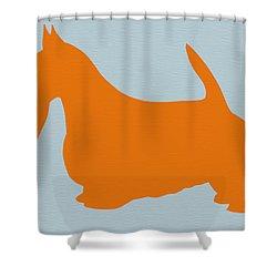 Scottish Terrier Orange Shower Curtain by Naxart Studio