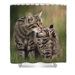 Scottish Wildcats Painting - In Support Of The Scottish Wildcat Haven Project Shower Curtain by Rachel Stribbling