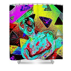 Shower Curtain featuring the painting Scream Abstract Art by Annie Zeno
