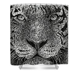 Scribble Tiger Shower Curtain by Nathan Shegrud