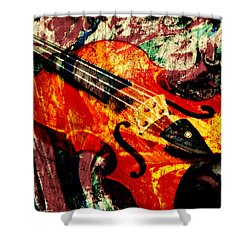 Shower Curtain featuring the mixed media Scribbled Fiddle by Ally  White