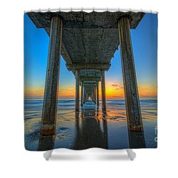 Scripps Pier Sunset Shower Curtain