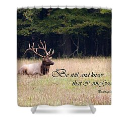 Scripture Photo With Elk Sitting Shower Curtain