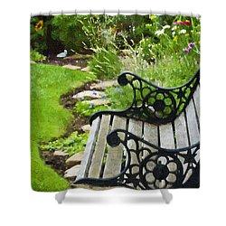 Scroll Bench Garden Scene Digital Artwork Shower Curtain