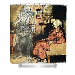 Scrooge And The Ghost Of Marley Shower Curtain by Arthur Rackham