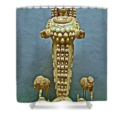 Sculpture Of Artemis-goddess Of Fertility In Ephesus Museum-turkey Shower Curtain