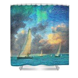 Scylla Shower Curtain by Taylan Apukovska