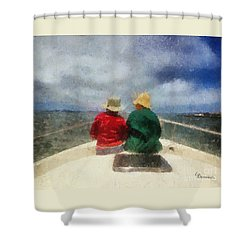 Sea Breeze 4 On The Bay Shower Curtain by Linda Weinstock
