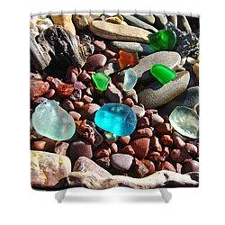 Sea Glass Art Prints Beach Seaglass Shower Curtain by Baslee Troutman