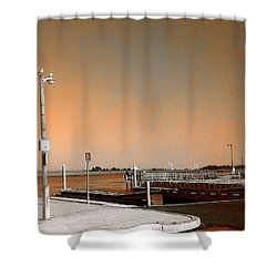 Sea Gulls Watching Over The Wetlands In Orange Shower Curtain by Amazing Photographs AKA Christian Wilson