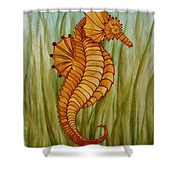 Shower Curtain featuring the painting Sea Horse by Katherine Young-Beck