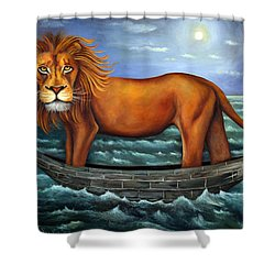 Sea Lion Bolder Image Shower Curtain by Leah Saulnier The Painting Maniac