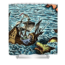 Sea Monster Attacking Ship, 1583 Shower Curtain by Science Source