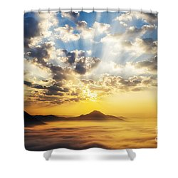 Sea Of Clouds On Sunrise With Ray Lighting Shower Curtain by Setsiri Silapasuwanchai