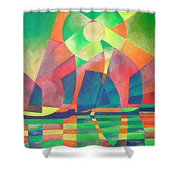 Shower Curtain featuring the painting Sea Of Green by Tracey Harrington-Simpson