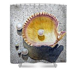 Sea Shell And Pearls Shower Curtain by Irina Sztukowski