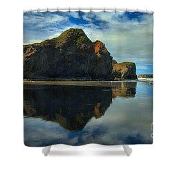 Sea Stack Swirls Shower Curtain by Adam Jewell
