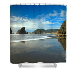 Sea Stacks In Blue Shower Curtain by Adam Jewell