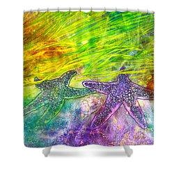 Sea Stars Shower Curtain by Janet Immordino