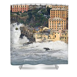 Shower Curtain featuring the photograph Sea Storm In Camogli - Italy by Antonio Scarpi