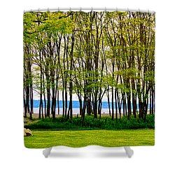 Sea Through The Trees Shower Curtain by Juli Ellen