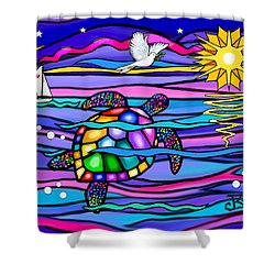 Sea Turle In Blue And Pink Shower Curtain by Jean B Fitzgerald