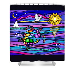 Sea Turle In Blue And Pink Shower Curtain