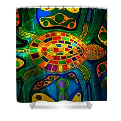 Sea Turtle - Abstract Ocean - Native Art Shower Curtain
