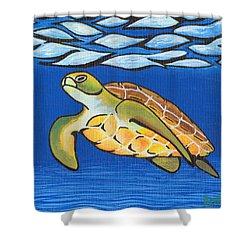 Sea Turtle Shower Curtain by Adam Johnson