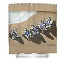 Sea Turtle Babes Shower Curtain by Anne Marie Brown