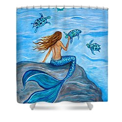 Sea Turtle Friends Shower Curtain by Leslie Allen