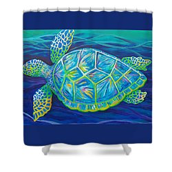 Sea Turtle I Shower Curtain by Anne Marie Brown
