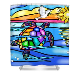 Sea Turtle In Turquoise And Blue Shower Curtain by Jean B Fitzgerald