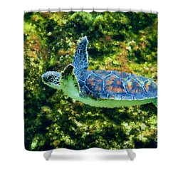 Sea Turtle Swimming In Water Shower Curtain by Dan Friend