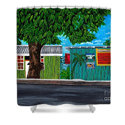 Sea-view Cafe Shower Curtain by Laura Forde